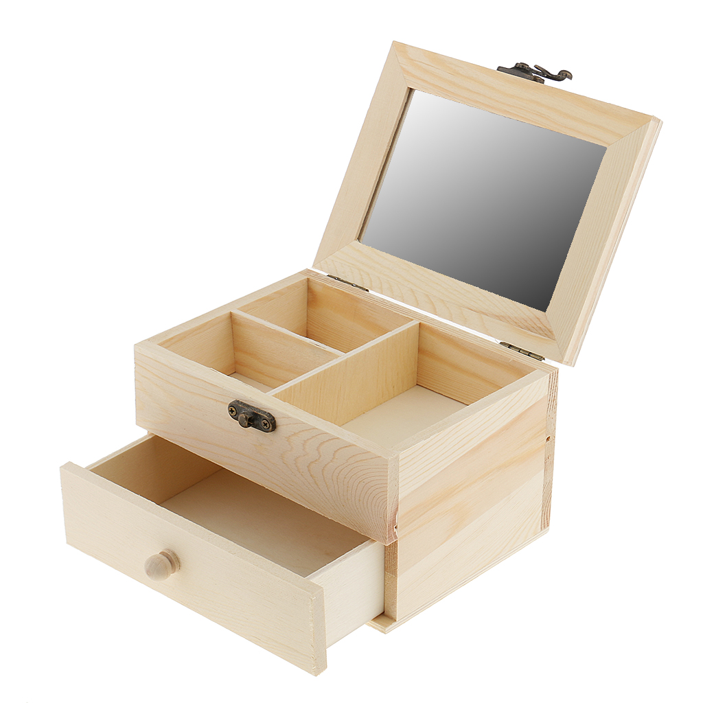 2 Layers Unifinished Plain Wooden Jewelry Box Wooden Necklace Wristband Ring Display Ornament Storage Box