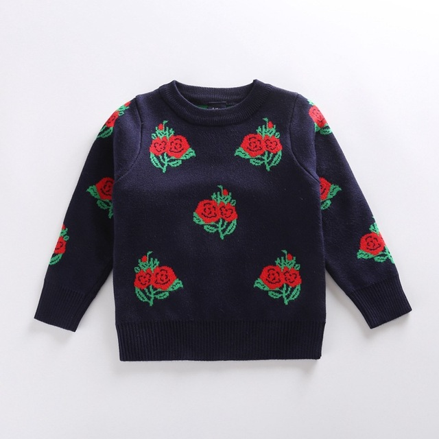 Bebé suéter niña cardigan para niñas niños cardigan rojo flor color de rosa bordado de la capa chaquetas de cuello alto para las niñas de la rebeca de punto