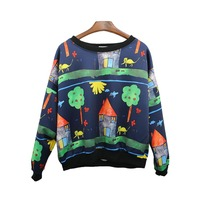 Women Popular Tops Fleece High End Pullover Women Loose Casual Sportwear Women Printed Cartoon Sweatshirt Newest