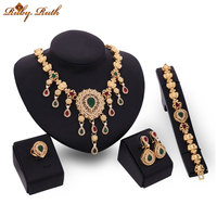 jewelry sets bridal african fashion crystal jewellery Gold Color wedding necklace earing dubai sieraden women perhiasan set