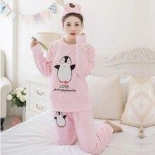 9a897da99e 2017 pijamas invierno mujer Pijamas Mujer mujer traje pijamas polar de coral  pijamas set mantener caliente