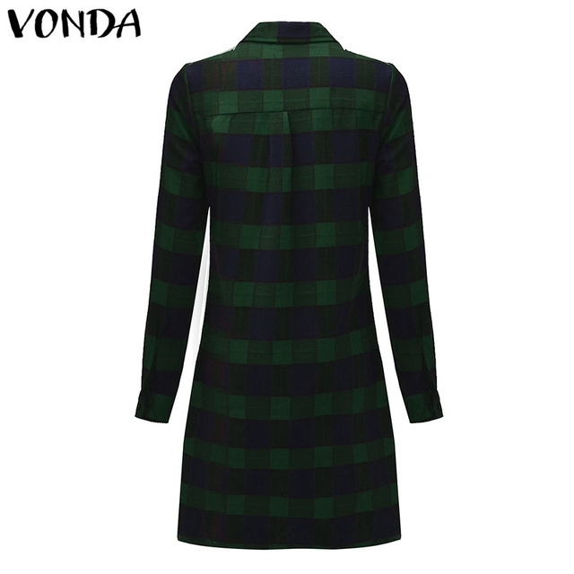 VONDA Pregnant Women Plaid Blouse Shirts 2018 Spring Fall Vintage Lapel Long Sleeve Pregnancy Tops Plus Size Maternity Clothings 5