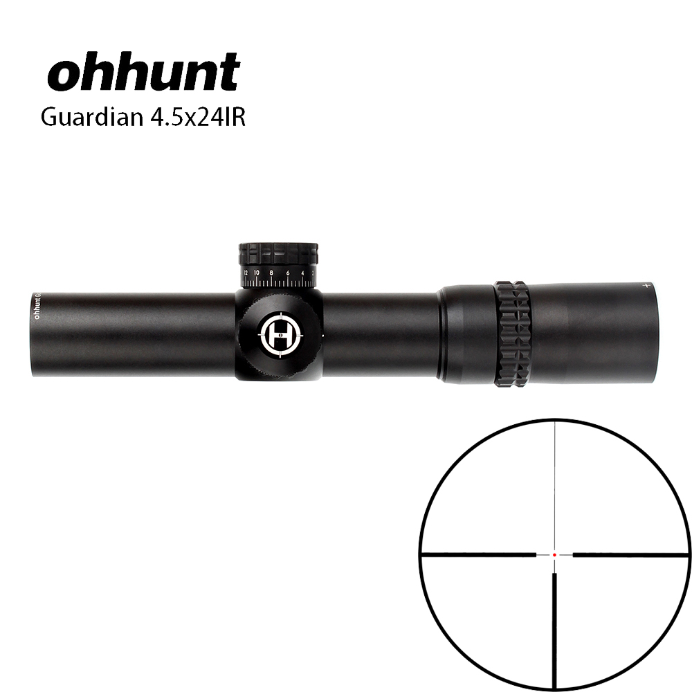 ohhunt Guardian 4.5x24IR Hunting Optical Compact Riflescope Glass Etched Reticle 1/2 Half Mil Dot Tactical Shooting Scope Sight optical sight 1 6x24 precision scope shooting hunting o ring sealed fog proof and water resistant 1 2 moa riflescope