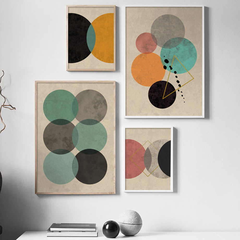 Abstract Geometric Round Curve Line Wall Art Canvas Painting Nordic Posters And Prints Wall Pictures For Living Room Salon Decor