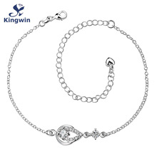 New Design Large Stock Delicate Handmade Silver Plated Anklet bracelet Pear shape cz Zirconia stone with extension chain