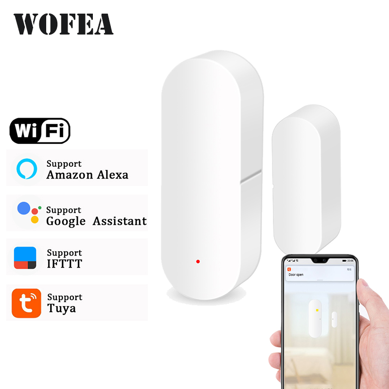 Wofea Door/Window Detector WiFi App Notification Alerts Battery Operated Home Security Sensor Tuya Support Alexa Google Home