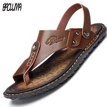 Мужские летние шлепанцы из натуральной кожи; пляжные сандалии; повседневная обувь; мокасины; мужские сандалии; сезон лето
