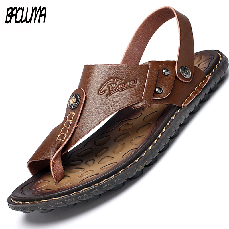 Men's Summer Genuine Leather Flip-Flops Slippers Beach Sandals Casual Shoes Moccasins Men Sandals Summer