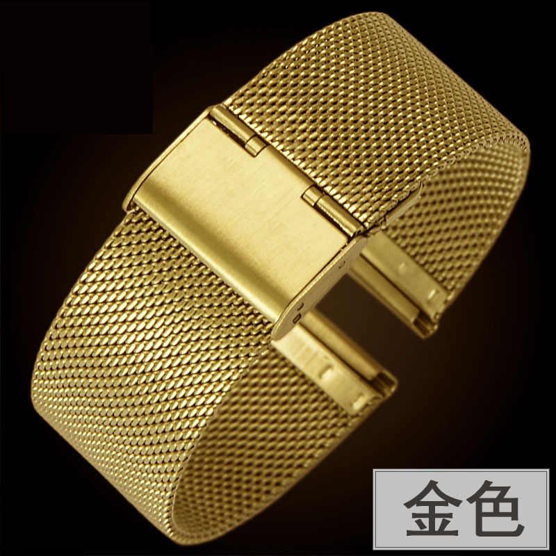 18 مللي متر 20 مللي متر معدن الفولاذ المقاوم للصدأ المرأة حزام (استيك) ساعة حزام ل DW تيسو لونجين سلسلة الرياضة Milanese حلقة شبكة مربط الساعة سوار