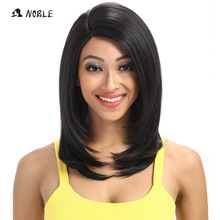 Noble For սևամորթ կանանց 18 դյույմ ուղիղ մազերի համար U մաս էլաստիկ ժանյակավոր սինթետիկ կեղծամներ Cosplay Wig բնական գույնի 1B սինթետիկ ժանյակավոր կեղծամ