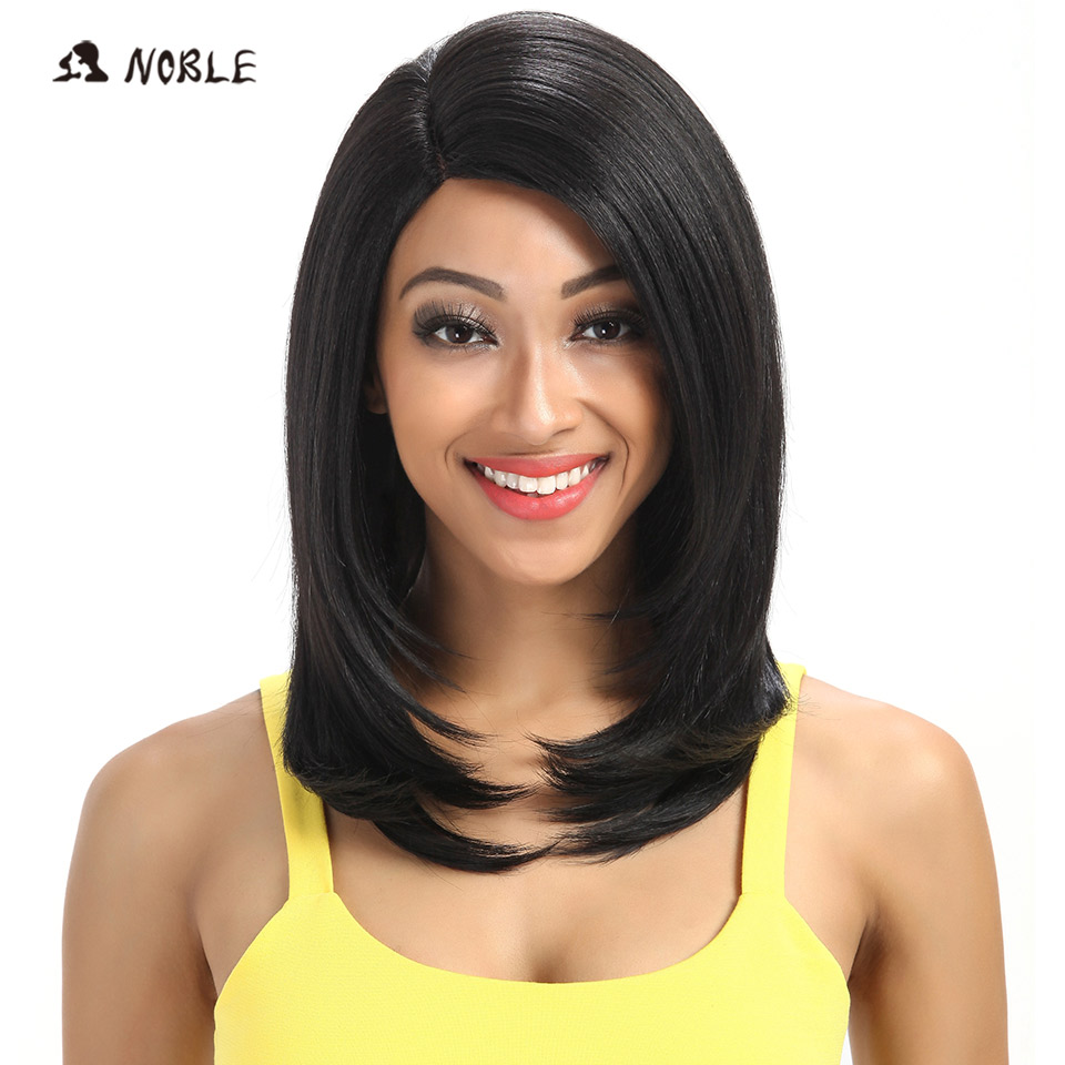 Noble For Black Women 18 Inch Straight Hair U Part Elastic Lace Synthetic Wigs Cosplay Wig Natural Color 1B Synthetic Lace Wig