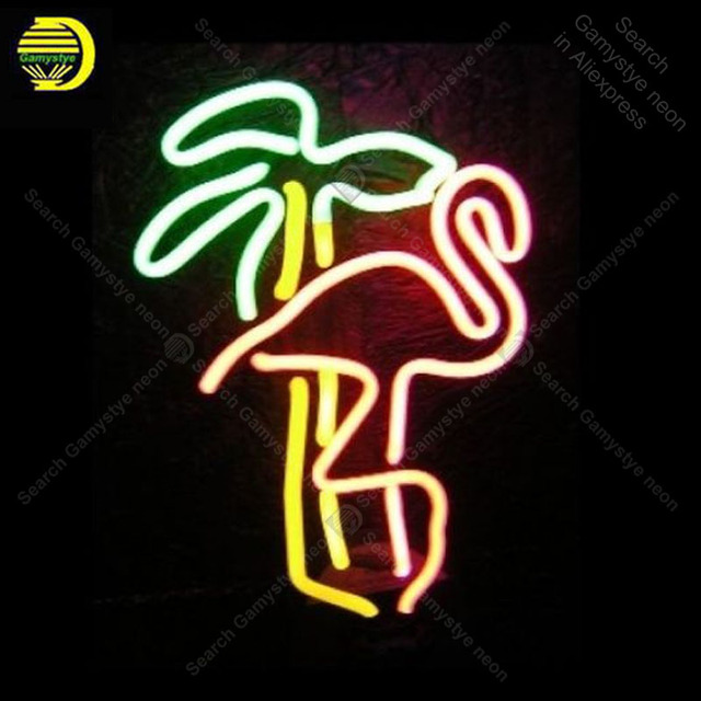 Neon Sign for Retro Flamingo Palm neon Light Sign decorate Windower Store Display Beer Sign Tubes Neon lights Pink Neon Lamps