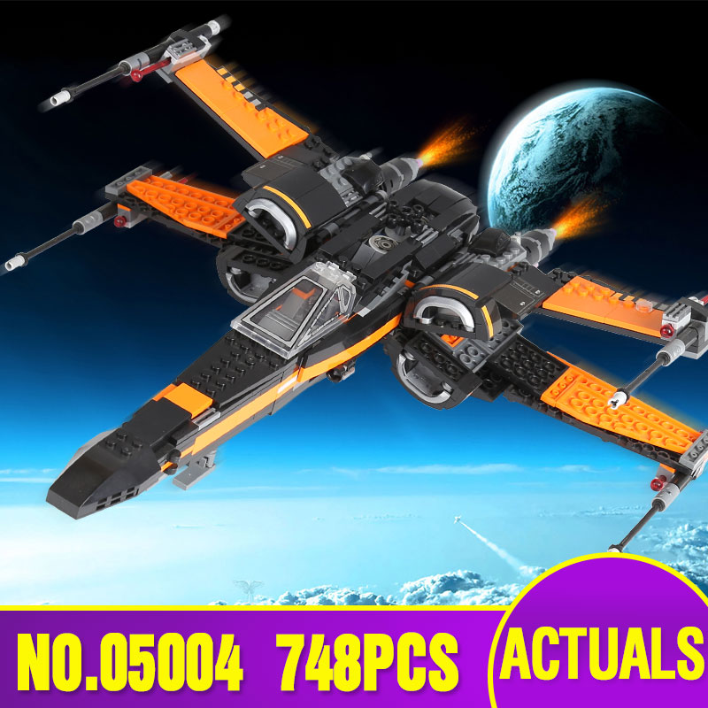 LEPIN  05004 Star 748Pcs Wars First Order Poe's X Fighter wing 79102 Building Blocks Compatible with children boys' Toy hot sale building blocks assembled star first wars order poe s x toys wing fighter compatible lepins educational toys diy gift
