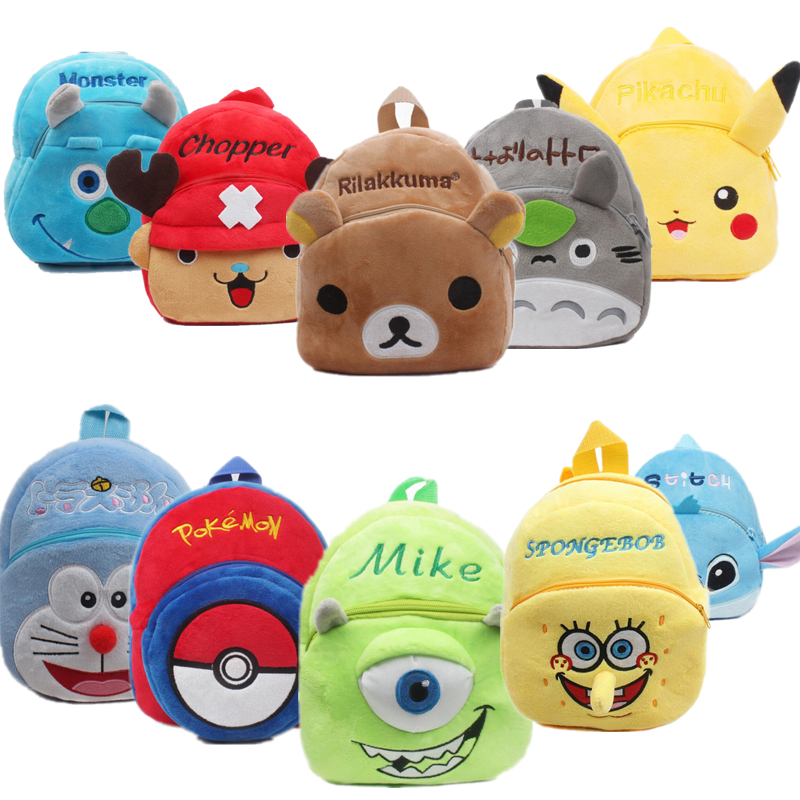 Anime Stitch Totoro ONE PIECE Pokemon Pikachu Toddler Kids Children Boy Girl Schoolbag Backpack Student Shoulder Plush Bag
