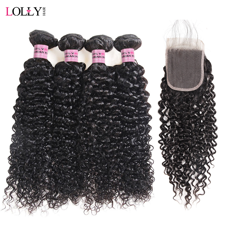 Lolly Indian Curly Hair Bundles With Closure Swiss Lace Closure With Bundles 5Pcs Lot Natural Color