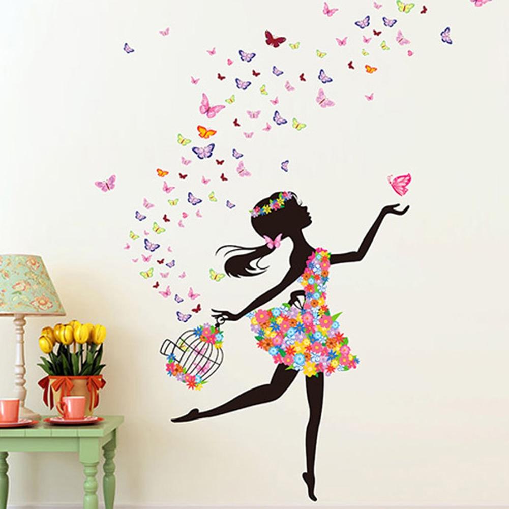 Fleurs Elf De Danse Fille Affiche Filles Chambre Stickers Muraux