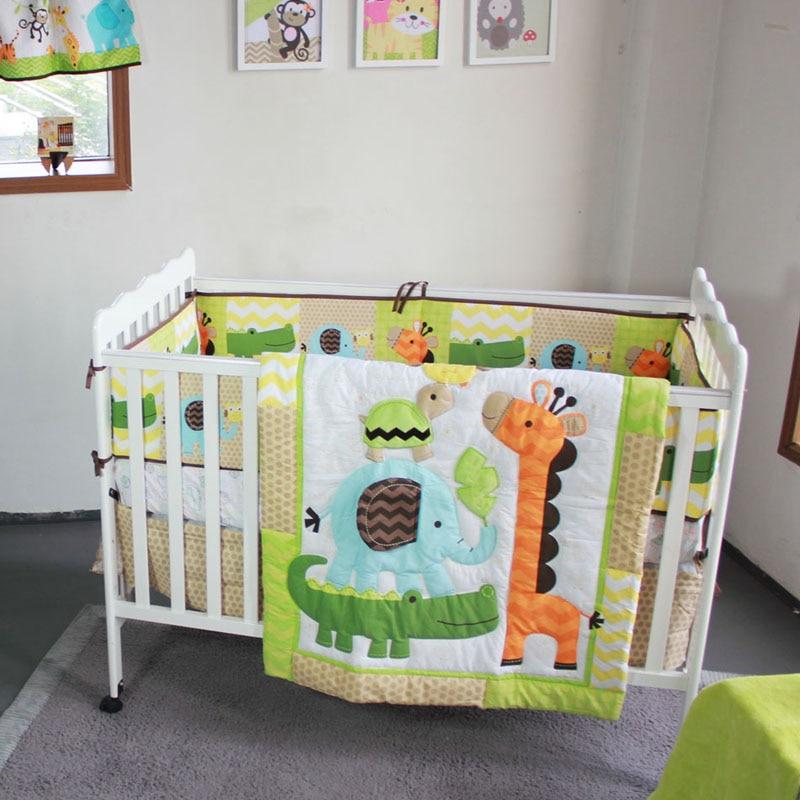 US $13.71 51% OFF|Baby Bedding Set Animal World Elephant Baby Boy Crib  Bedding Sets Baby Bed Set Quilt Mattress Crib Skirt Crib Protector  Bumpers-in ...