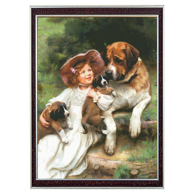 Needlework Crafts 14CT unprinted embroidery French DMC Quality Counted Cross Stitch Kit Children and dogs for Home Decor