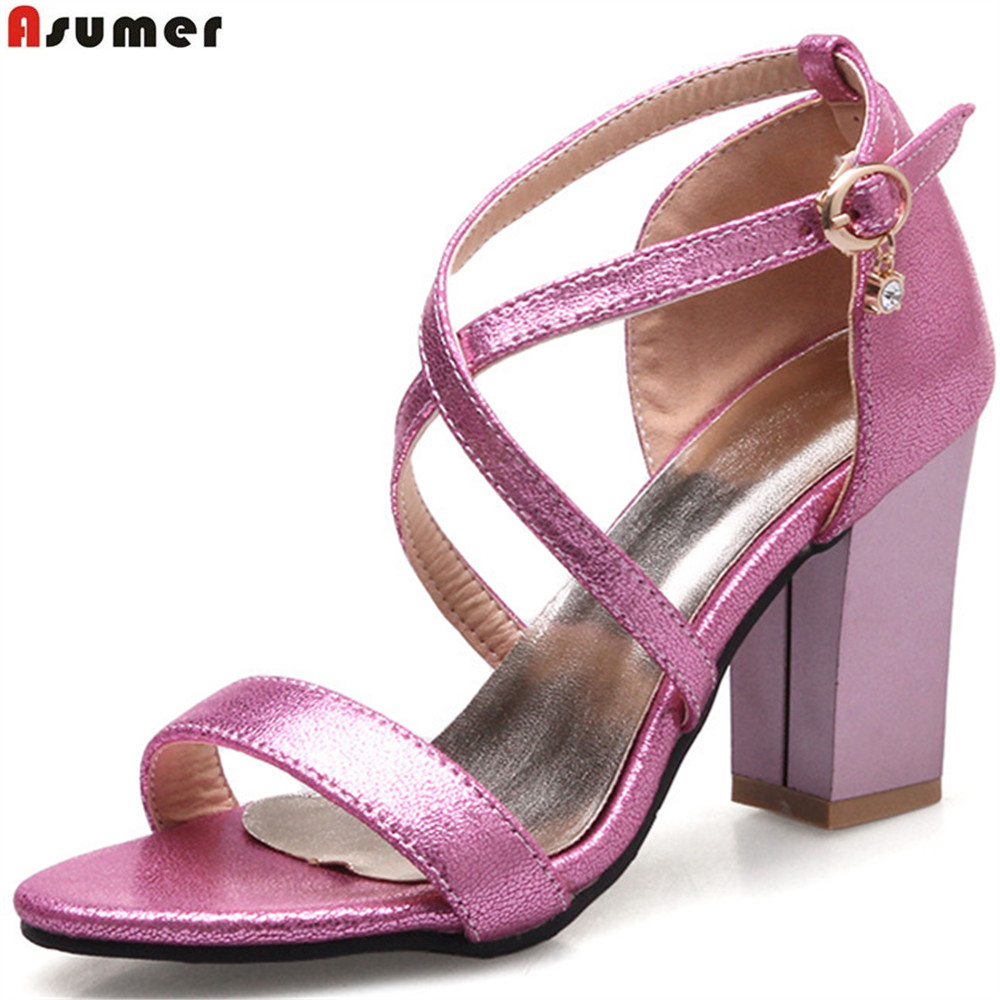 ASUMER big size 33-43 black pink silvery gold fashion summer ladies shoes buckle elegant square heel women high heels sandals asumer gold silvery fashion square toe buckle ladies single shoes spring autumn women high heels shoes big size 32 44