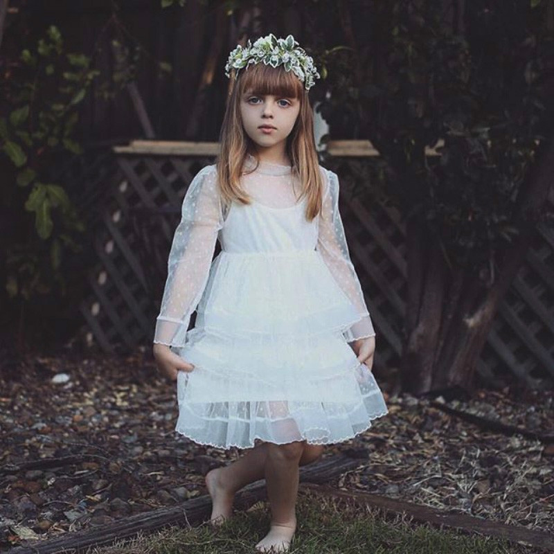 Girls Dress Tiered Princess Kids Children Dot England Lace Tulle Autumn