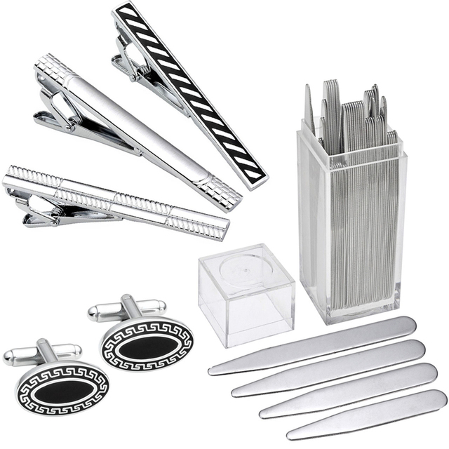 Brand New High Quality Stainless Steel Cuff Link and Tie Clip Sets Metal Collar Stays Shirts Inserts For Business Men Boy BF Son