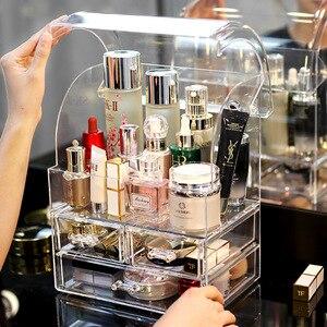 Transparente acrílico maquiagem organizador caixa de armazenamento batom titular de armazenamento compõem ferramenta titular gavetas jewerly caixa de armazenamento