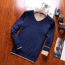 Men 2016 New Autumn Winter Fashion V-Neck Sweater Solid Slim Fitness Knitting Clothes Male Pullover Sweater Dress Men Plus M-3XL