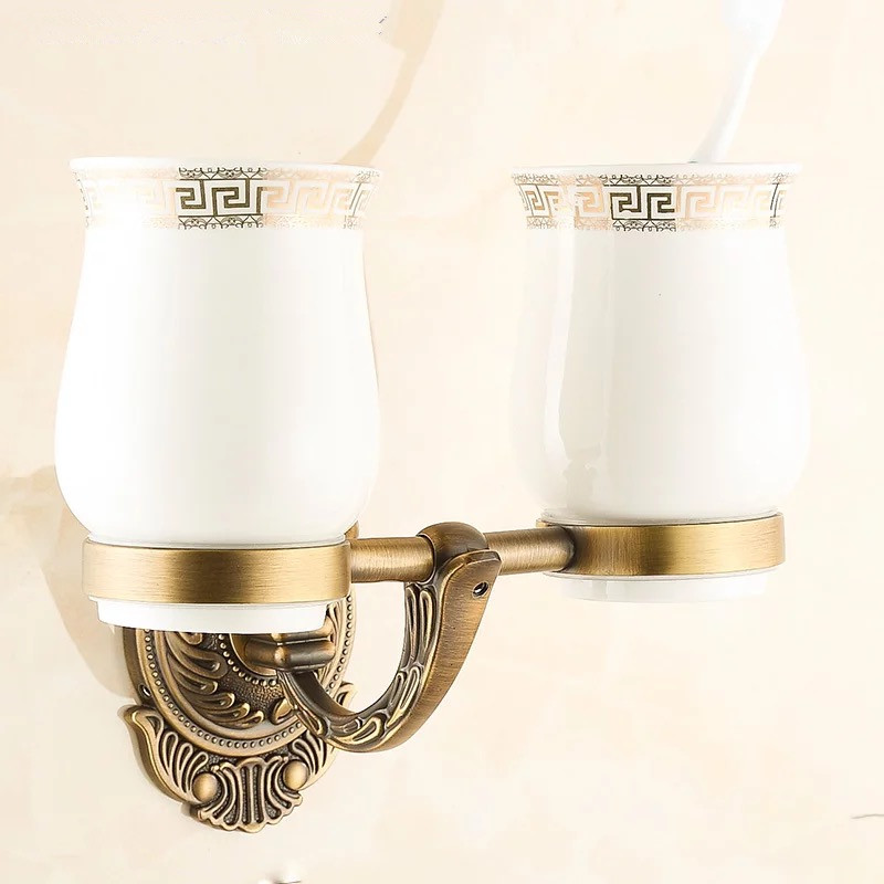 New antique brass doule cup holder luxury European antique copper toothbrush tumbler&cup holder wall mount bath product 850 flg new modern accessories luxury european style golden copper toothbrush tumbler
