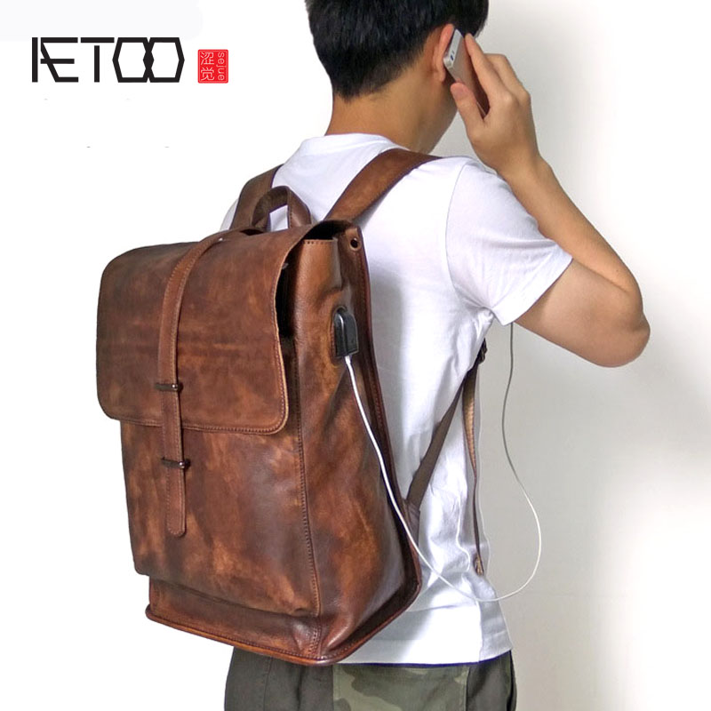 AETOO Genuine Leather cow leather Laptop Backpack External USB Charge Computer Backpacks Anti-theft Waterproof Bags for Men ozuko multi functional men backpack waterproof usb charge computer backpacks 15inch laptop bag creative student school bags 2018