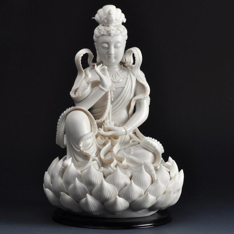 Статуя Гуаньинь белая Будда Керамическая скульптура домашний декор буддизм стиль, статуя Гуаньинь
