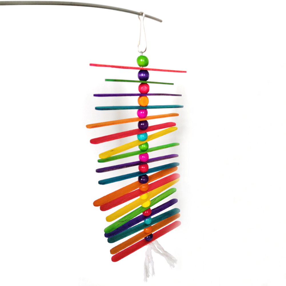 Pet Birds Parrot Wooden Stick Beads Swing Hanging Chew Toy Cage Decor 2019 in Bird Toys from Home Garden