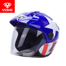 2017 summer New YOHE Half Face motorcycle helmet motorbike Electric bicycle helmets made of ABS with brim Size M L XL XXL