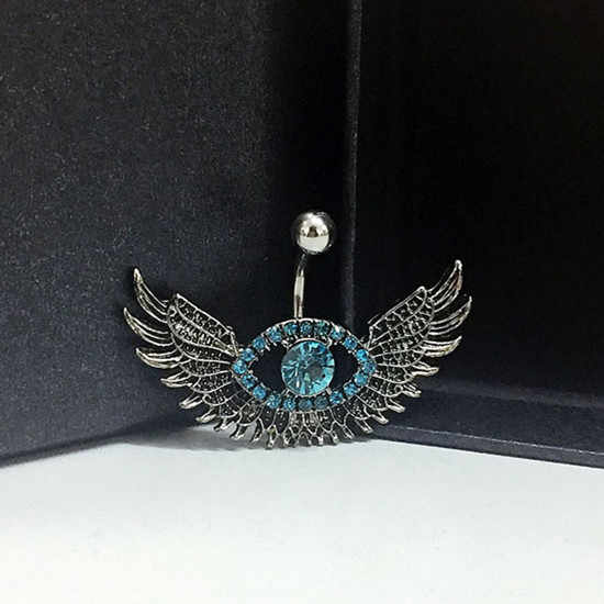 Hot Angel Wing Navel Piercing Sexy Blue Crystal Evil Eye Belly Button Rings Body Jewelry Piercing Rhinestone Big Eye Belly Ring