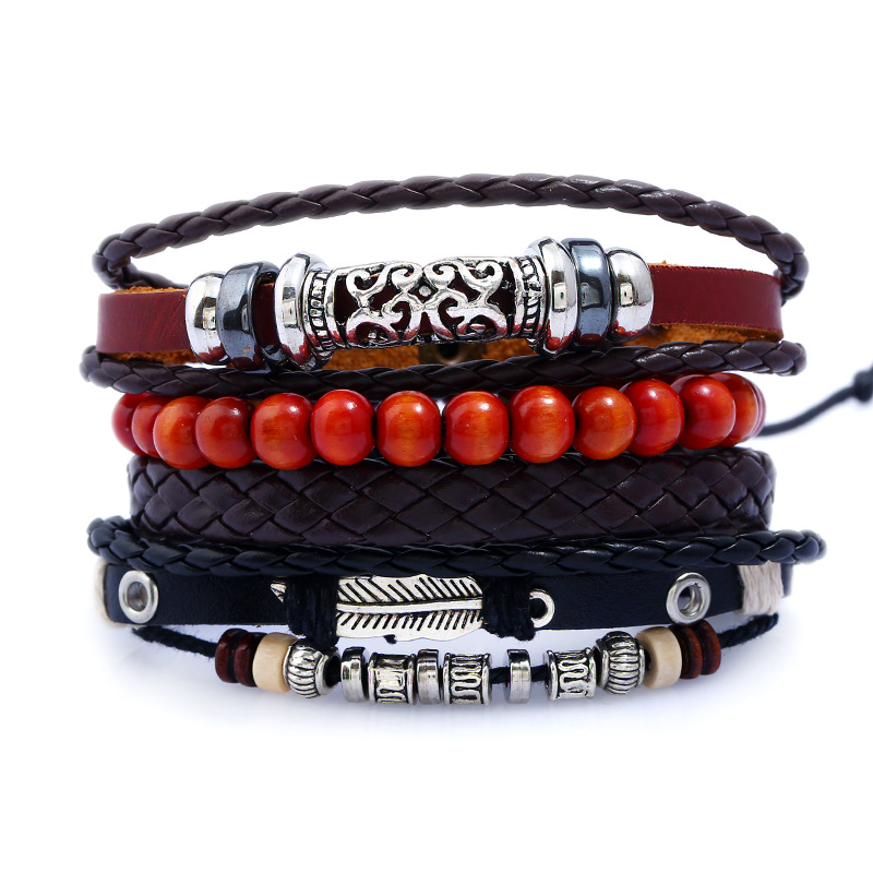 4pcs/set Punk Hippie Black Brown Wrap Leather Knot Vintage <font><b>Silver</b></font> Color Pattern <font><b>Tube</b></font> Charm Red Bead Layers <font><b>Bracelets</b></font> Bangles Man image
