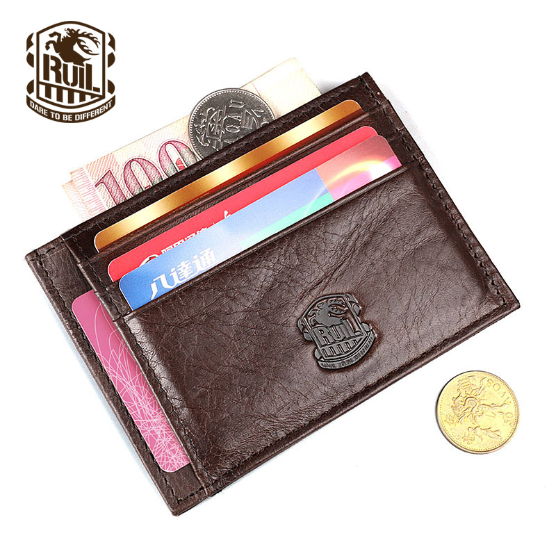 Ruil Hot Sale Mote Top Quality Ekte Lær Menn Pung Vintage Wallet Mynte Pocket Purse Card Money Clip gratis frakt