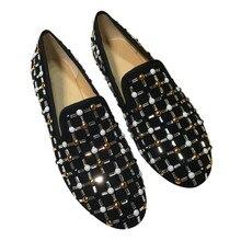 Strass Pérolas Sapatos Mocassins Dedo Do Pé Redondo Mulher Runway Casual Tenis Feminino Sapatos Oxfords Slip-on Zapatos De Mujer de Marca 2018