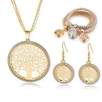 Szelam Gold Plated Tree Of Life Jewelry Set For Women Necklace Earrings Bracelets Set Wedding Crystal