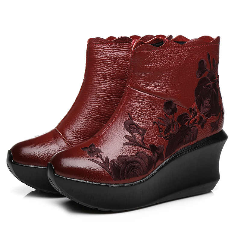 GKTINOO Borduren Handgemaakte Laarzen Voor Vrouwen Echt Leder Enkel Schoenen Vintage Platform Vrouwen Schoenen Ronde Tenen Wiggen Laarzen