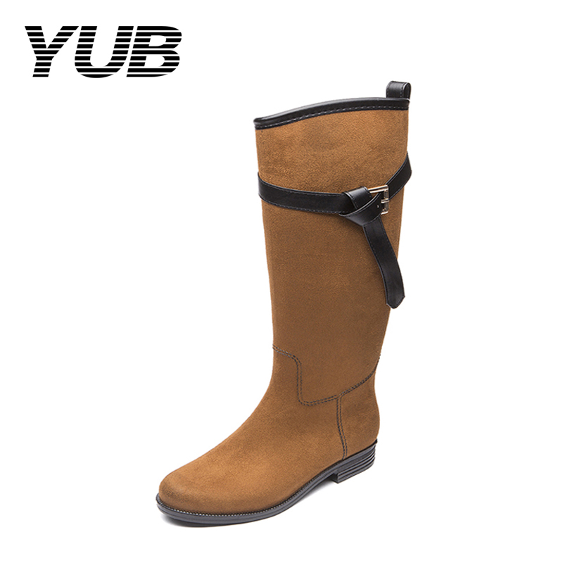 YUB Brand Women's Rain Boots with High Quality PVC Waterproof Women Designer Winter Boots Knee High Anti-slip Female Botas Hot yub brand waterproof rain boots for women with solid color slip on winter mid calf shoes for girls