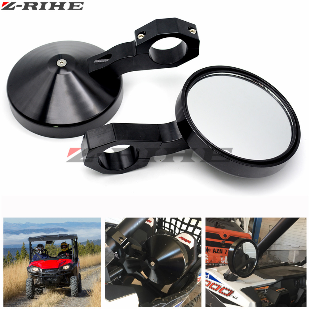 4.7 Round Billet Side Rear View Mirrors 2 Clamp for Polaris Ranger and RZR and RZR S and XP Top Crossbars for Yamaha Viking 1 75 round adjustable side mirrors rear view mirror for polaris rzr ranger 900 xp4 1000 500 700 for john deere gator hpx xuv