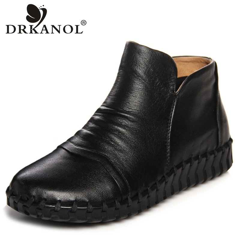 DRKANOL Handmade Genuine Leather Women Boots Spring Autumn Round Toe Zipper Flat Ankle Boots For Women Vintage Pleated Shoes handmade women shoes genuine leather women boots spring autumn vintage ankle boots flat bootie botas mujer