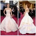 Milan custom 2015 últimos de la celebridad Jennifer Lawrence red carpet Oscar trasero blanco rosa fleabane bitter bitter vestido fleabane