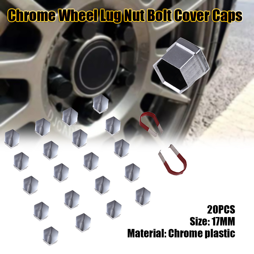 20 x wheel bolts lugs nuts Push on caps covers 17mm hex Black