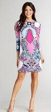 Платья для вечеринок Лидер продаж Срок годности Freeshipping шелкового джерси прямые Для женщин ол элегантный вязаный цельный платье печати!