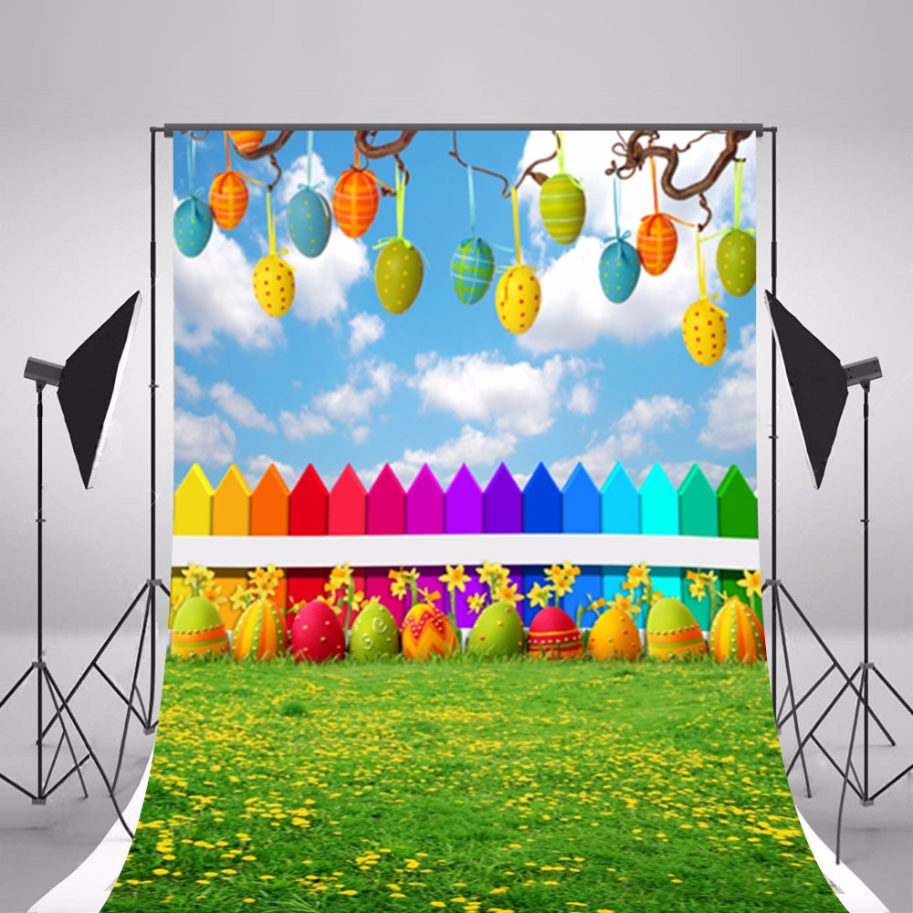 Happy Easter Eggs Photographic Backgrounds Thin Vinyl Photo Backdrops Baby Backgrounds For Photo Studio Photography Props Easter family photo background easter day flowers vases photography backdrops for photo studio vinyl printing photographic backgrounds