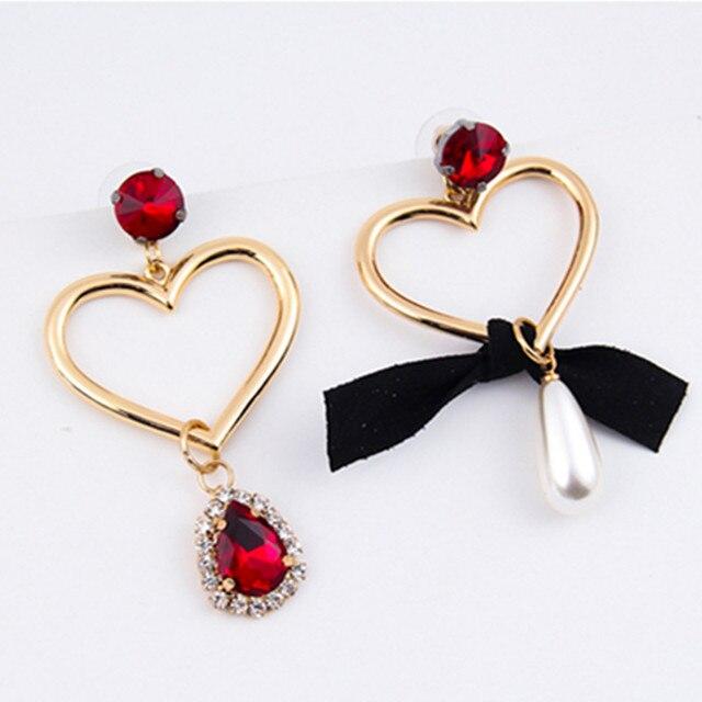 Korean Luxury Rhinestone Simulated Pearl Love Heart Bow Drop Earrings For Women S Fashion Accessories Penntes