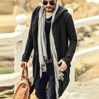 Europe America Hoodies Men Sweatshirts Black Cloak Men Long Sleeve Shawl Outwear Streetwear Style Hooded Men