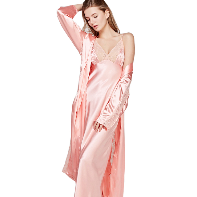 ebd40b254a Sexy Silk Sleepwear Female Summer Spring Two-Piece Sleeping Robe Sets Sling  Long Dress Satin Silk Bathrobes Women FWT008