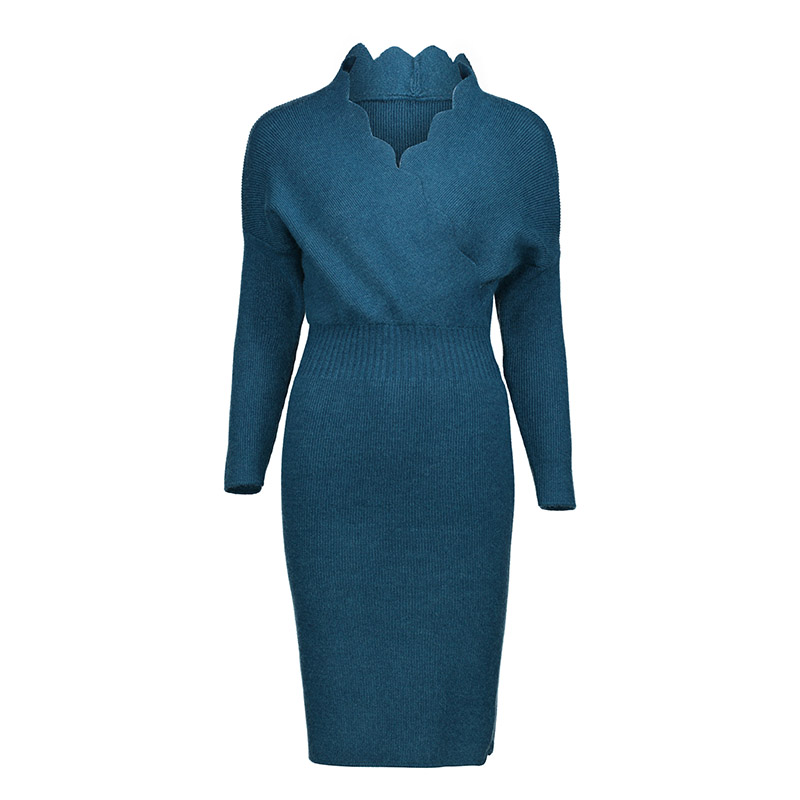 все цены на Women Knitted Pencil Dress Bodycon Long Sleeve V Neck Warp Sexy Dress Autumn Fashion Office Lady Elegant Sexy Sweater Dress