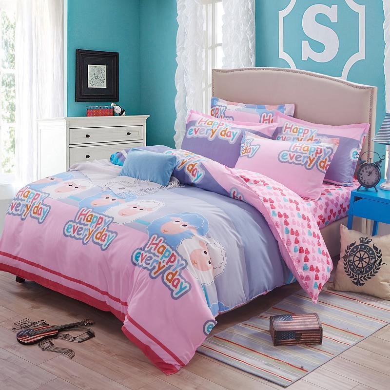 Cute Bedding Sets 4pcs Cartoon Cute Sheep Printed Kids